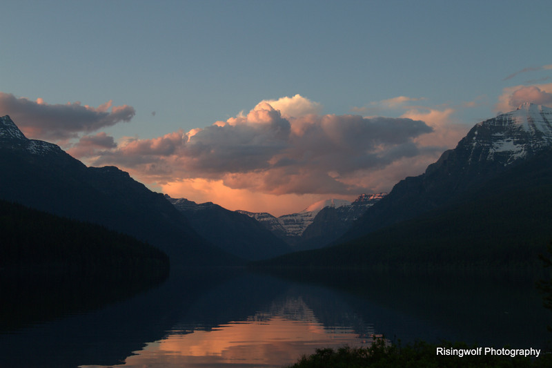 Sunset over Bowman Lake
