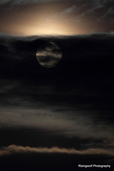 Moon rise in clouds